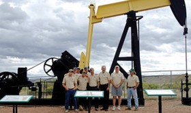 Rangely town officials were on hand for the Sept. 15 dedication of the Raven A1 pump jack, moved to the Rangely Outdoor Museum, including Town Manager Peter Brixius, Rangely Mayor Frank Huitt and Town Crew Supervisor Mike Englert as well as Chevron Technical Team Advisor Erik Woodward, Museum Director Brenda Hopson, Museum Board members Sharon Brown, President Cheryl Robertson, Naomi LeGere, Secretary Gaila Bell, Chevron Operations Supervisor Luke Allred, Museum Board members Dorothy and Tommy Collins and Chevron Policy, Government and Public Affairs field representative Cary Baird.