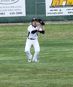 Cowboy center fielder Doak Mantle is pictured catching a fly ball for an out against the No. 1 ranked Paonia Eagles last Saturday. The doubleheader, which Meeker lost, was scheduled to be played in Meeker but was moved to Rifle because of poor field conditions. The Cowboys played Rangely on Tuesday and will host Cedaredge Saturday in a doubleheader at Paintbrush Park, starting at 11 a.m. weather permitting.