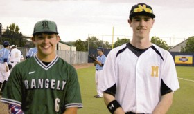 Jesse Powell, left of Rangely, and Nick Burri, right, of Meeker represented Rio Blanco County on Thursday in the Senior All-Star Baseball Game. The two played on the Western Slope 1A-5A team. Unfortunately, the Western Slope team fell 9-7, but the boys both said that it was a great game that created great memories for them.