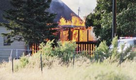 A fire destroyed the Hennerman residence at 757 W. Main in Rangely on July 5, but no one was home at the time and no one was injured, according to the Rangely Police Department on Tuesday. The speculation was that the blaze was started by a snapped power line although that was not confirmed by the police department.