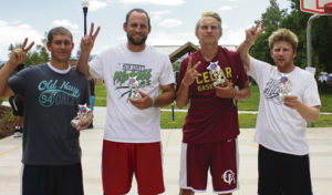 The team WSH, with members, left to right, Brandon Sanders, Helaman Haynie, Parker Haynie and Gannon Walser captured first place in the Main Street Madness 3-on-3 Basketball Tournament during Range Call.