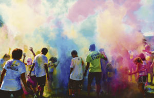 As if getting showered by pastel paint powder during the course of the ERBM Recreation & Park District Paintbrush Rush Color Run on Saturday wasn't enough color, the race participants threw powdered dye into the air for the color explosion finale.