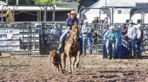 Competing in a mud-packed arena after Friday night and Saturday night downpours, Ellie Anderson of Meeker took part in the Colorado Professional Rodeo Association-sanctioned rodeo at the Rio Blanco County Fairgrounds on Sunday evening. The stands had a good crowd on hand for the rodeo and all other events during the four-day Range Call Celebration.