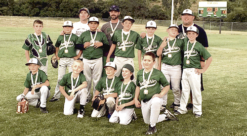 Rangely's 8-to-10-year-old Western Rio Blanco Metropolitan Recreation and Park District-sponsored baseball team won the league championship for the year and finished the season with a team title and a 7-1 record. Pictured in front are: Landson Carlson, Hudson Torsell, Zeek Gianinetti, Grady Aguirre and Jeren Blankenship. In the second row are: Dylan Smuts, Kobey Chism, Marcos Quintana, Bryce Lambros, Landon Williams, Jaxson Torsell and Jackson Aguirre. In the back row are coaches Casey Aguirre, Michael Chism and Ryan Torsell.