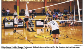 Lady Cowboys split volleyball matches