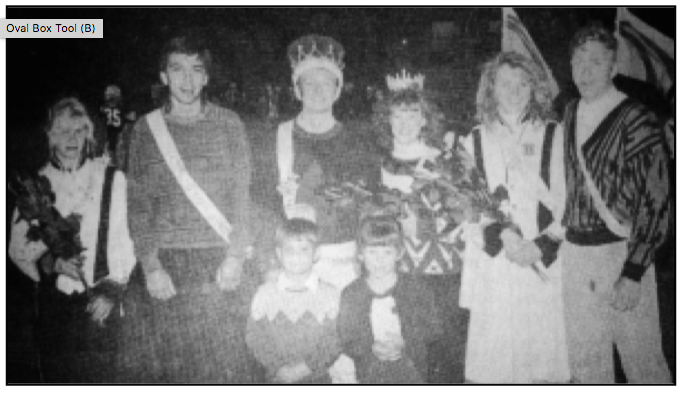 HERALD TIMES ARCHIVE PHOTO Meeker High School homecoming royalty in 1991. Selected by their classmates to reign over this year's football program were King and Queen Bailey Franklin and Jennifer Phelan in the middle. To their right were first attendants Karrin Borchard and Luke Conwell, while Molly Turner and Jason Dunham were chosen as second attendants. Crown bearers in the front are Steven Rust and Mandy Richardson.