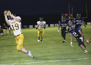 For a second week in a row, Meeker senior Cole Brown has caught a touchdown pass from junior quarterback Logan Hughes. Brown caught four pass in the 30-14 win against the 2A Coal Ridge Titans. The Cowboys will host the Holyoke Dragons on the brand new field in Starbuck Stadium, this Friday at 7 p.m.