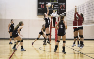 The Meeker High School JV volleyball team took third place out of eight teams at the Grand Valley tournament last weekend. Pictures are hitter Allison Moon, with teammates Loren Casias, Caleigh Morlan and Addie Joy.