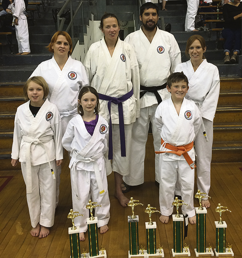 The Meeker Shinpu-Ren Karate group, an ERBM Recreation and Park District program, competed at the Delta Karate Tournament on Oct. 22. All participants competed in Kumite (sparring) and Kata (forms). Norah Loar was third in Kumite and second in Kata in the 5-7 year old division. In the 8-11 intermediate division Jacob Roberts was second in Kumite and 4th in Kata. Damon Dade was fourth in Kumite in the 12-14 division. In the 18 & over division, Sarah MacDonald was first in Kumite and second in Kata. Stephanie Eckes placed second in the Kumite and third in Kata. Courtesy Photo