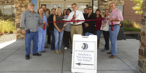 courtesy photo Members of the Rangely Area Chamber of Commerce and Rangely District Hospital welcomed a new business last week: My Hearing Centers, located in the RDH building.