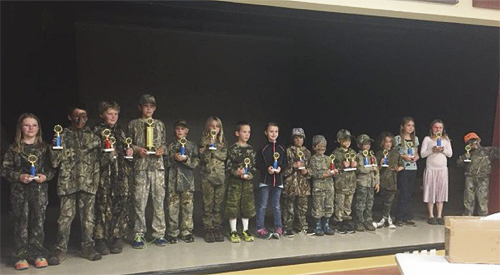 courtesy photo Twenty-seven students participated in the annual elk bugling contest sponsored by the Meeker Police Department, who thanked judges Jarrett Waldref and Jeff McGuire, and Stan Wyatt of Wyatt Sports who donated binoculars for door prizes.