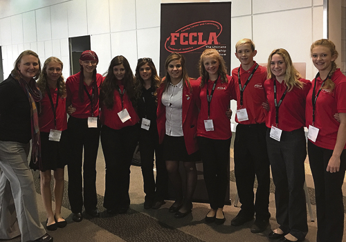 Recently the members from the Meeker High School FCCLA Chapter went to National Clusters in Denver, Colo. During this course members attended multiple leadership workshops. By doing so they worked on their leadership skills and learned a lot of new material to bring back to the local chapter in Meeker. Members who attended (left to right): advisor Brenda Hummel, Grace Gibson, Kallie McCain, Shelbi Blazon, Alondra Olivas, state officer Linda Lombardi, Annelise Amack, Trapper McGruder, Kylee Bradford and Jennifer Kincher. Courtesy photo