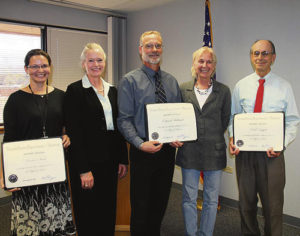 Left to right Heather Sauls, BLM State Director Ruth Welch, Kent Walter, BLM Deputy Director for Programs and Policy Linda Lance, and Paul Daggett. Sauls, Daggett and Ed Hollowed (not pictured) were recently honored with the BLM Director's Award for Distinguished Service for their work on the White River Field Office Oil and Gas Development RMP Amendment. Courtesy photo