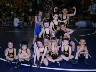 Meeker's peewee wrestlers celebrated after having 23 wrestlers place, including seven crowned as champions, at a tournament last Saturday at Craig. The team has a home meet April 17.