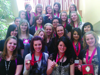 Twenty-two members of MHS FCCLA attended the 2011 State Leadership Conference in Denver and returned with 12 gold medals and 10 bronze. The gold medalist will attend the National Leadership Conference in Anaheim, Calif., in July. Pictured are bottom: Angela Urenda, sponsor, Andrea Cook, Katie Morgan, Kathryn Doll, Jordan Brown, Kristen Rowland, Amanda Kendall, Talia Rosas, Sage Chapin, Jessica Barnes, Zulma Olivas, Alexis Gutierrez, Perla Romero, Albi Pinela, Shelby Burke, Aly Ridings, Piper Haney, Taylor Neislen, Stephany Joos, Ariah Adams, Jessica Moyer and Dannon Bolton.